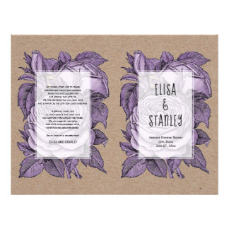 Purple roses vintage wedding folded program flyer