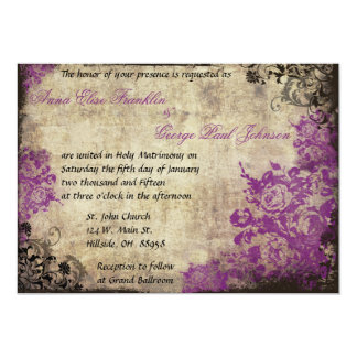 Purple Roses Vintage Wedding Invitation