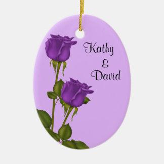Purple Roses Wedding Ceramic Oval Decoration