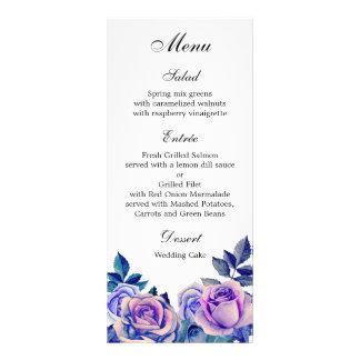Purple roses wedding dinner menu Floral menu party Personalised Rack Card