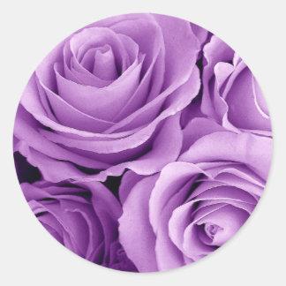 PURPLE Roses - Wedding Envelope Seal Round Sticker