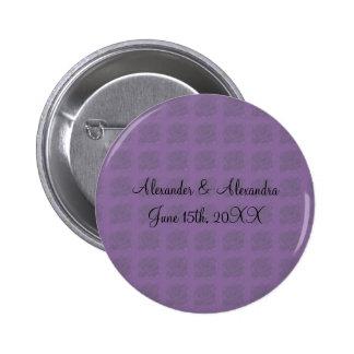 Purple roses wedding favors pinback button