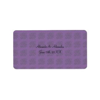 Purple roses wedding favors address label