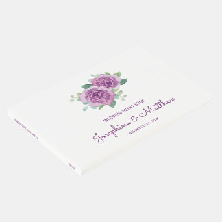 Purple Roses Wedding Guest Book