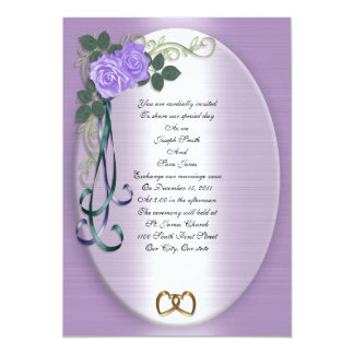 Purple Roses Wedding Invitation