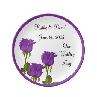 Purple Roses Wedding Porcelain Plate