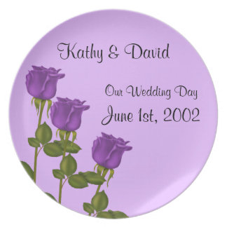 Purple Roses Wedding Party Plate