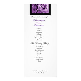 PURPLE ROSES Wedding Program Announcement Custom Rack Card