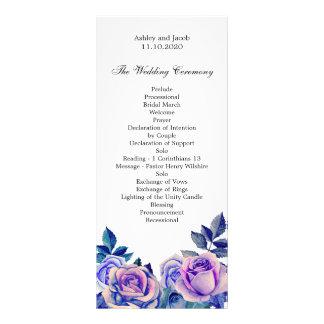 Purple roses wedding program. Floral ceremony Rack Card