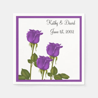 Purple Roses Wedding Disposable Napkins