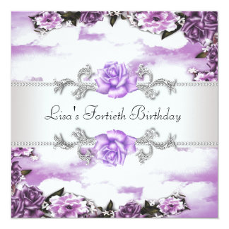 Purple Roses Womans 40th Birthday Party Card