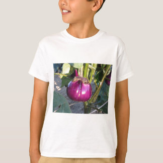 Purple round eggplant hanging on tree T-Shirt