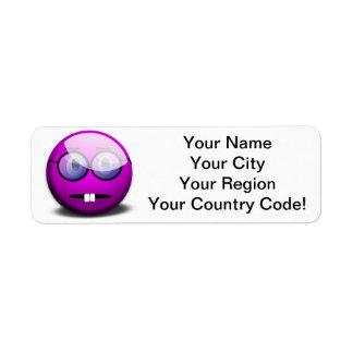 Purple Round Nerd Glasses Return Address Label