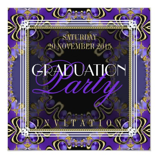 Purple Royal Art Deco Graduation Party Invitations