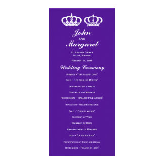 Purple Royal Couple Wedding Program 10 Cm X 23 Cm Rack Card