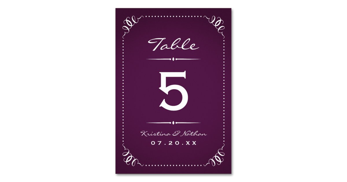 Purple Rustic Chic Table Numbers Table Card | Zazzle Z Table