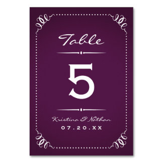 Purple Rustic Chic Table Numbers Table Cards
