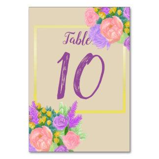 Purple Rustic Flower Table Number Card