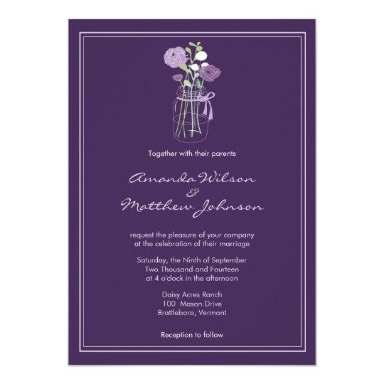 Purple Rustic Mason Jar Wedding Invitations