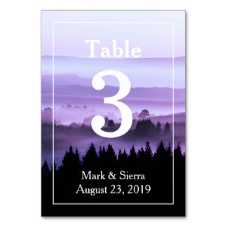 Purple Rustic Mountain Wedding Table Number
