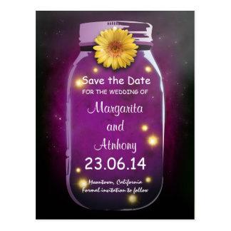 Purple Rustic Whimsical Mason Jar Save the Date Postcard
