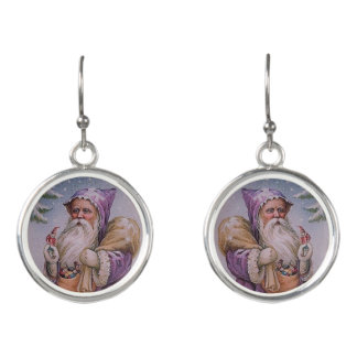 Purple Santa Earrings