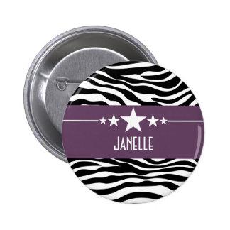 Purple Sassy Star Zebra Button
