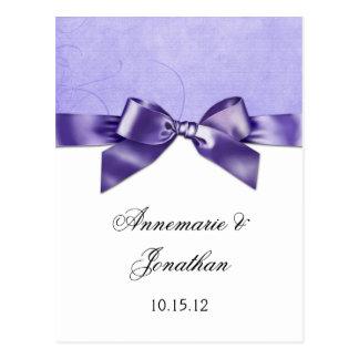 Purple Satin Ribbon Save the Date Postcard