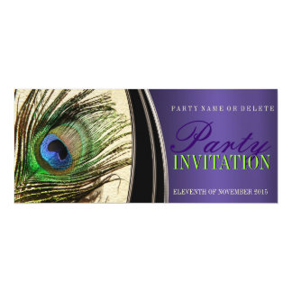 Purple Satin Stylish Peacock Feather Invitations