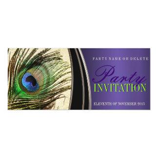 Purple Satin Stylish Peacock Feather Invitations
