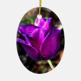Purple Satin Tulip Ceramic Oval Decoration