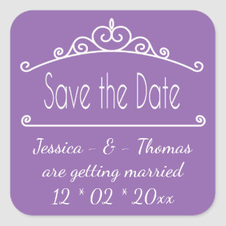 Purple Save The Date Engagement Wedding Square Sticker