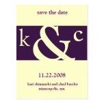 purple save the date post cards