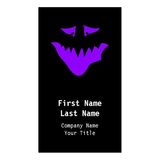 Purple Scary Face. Monster. Business Card
