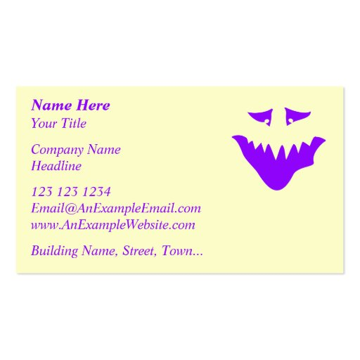 Purple Scary Face. Monster. Business Cards
