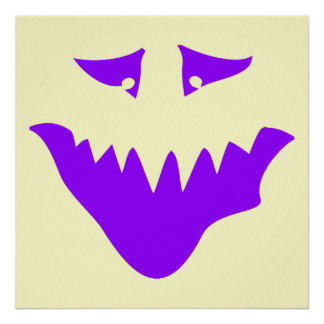 Purple Scary Face. Monster. Poster