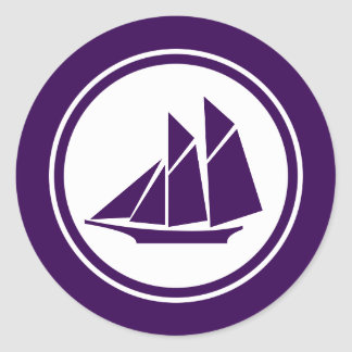 Purple Schooner Sailboat Round Stickers