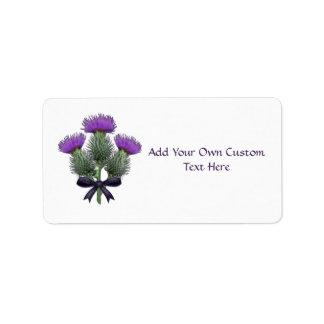 Purple Scottish Thistles with Tartan Plaid Bow Address Label