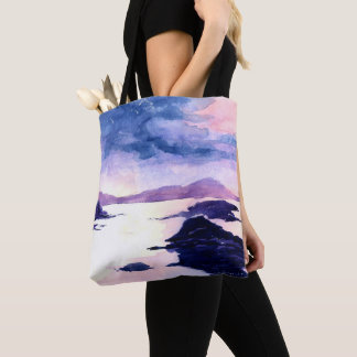 Purple Scottish Watercolour Painting Tote Bag