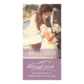 PURPLE SCRIPT THANKS   WEDDING THANK YOU CARD PHOTO CARD TEMPLATE