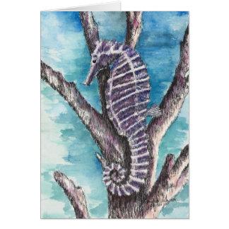 Purple Seahorse Blank Card