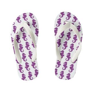 Purple Seahorses Pattern Kid's Thongs