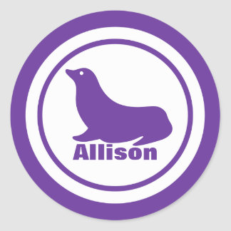 Purple Seal with Name Round Sticker