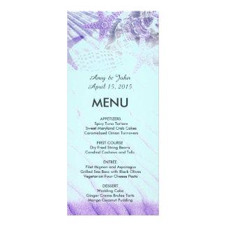 Purple seashell beach wedding menu seashell1 personalised rack card