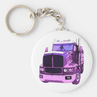 Purple Semi Truck Key Ring