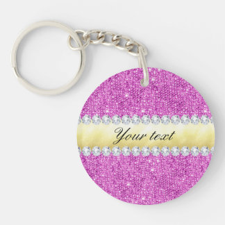 Purple Sequins Gold Foil and Diamonds Double-Sided Round Acrylic Key Ring