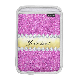 Purple Sequins Gold Foil and Diamonds iPad Mini Sleeves