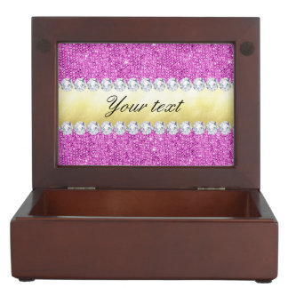 Purple Sequins Gold Foil and Diamonds Keepsake Box