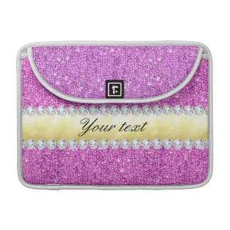 Purple Sequins Gold Foil and Diamonds Sleeve For MacBooks