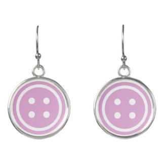 Purple Sewing Button Earrings